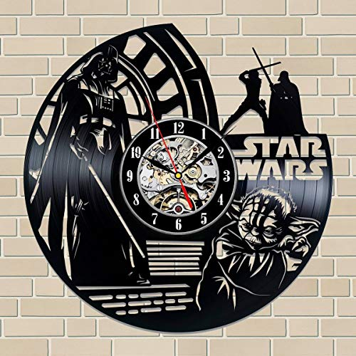 La Bella Casa Star Wars Space-Opera Art Wall Clock Vinyl Wall Clock - Get Unique Wall Home Decor - Gift Ideas for Him and Her - Original Handmade Vintage Gift