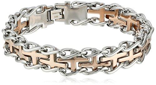 Mens Stainless Steel Two Tone Bracelet - Men's Two-Tone Rose Stainless Steel Railroad Bracelet