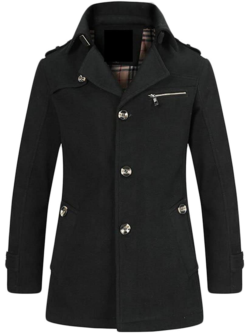 Black GAGA Men's New Solid color Single-Breasted Pea Coat Overcoat