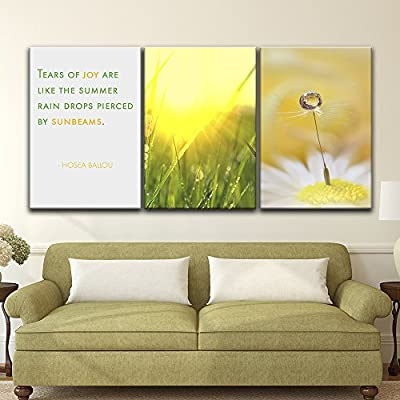 Fascinating Picture, That You Will Love, 3 Panel Rain Drops on The Plants in Summer with Inspirational Quotes x 3 Panels