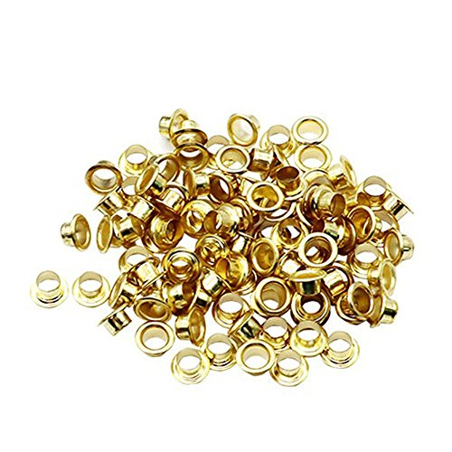 Fan-Ling 100 Pcs 4mm Titanium Eyelets,Grommets Tool Kit with Washer Leather Tool Craft Repair Grommet