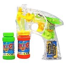 Haktoys® Bubble Gun Transparent Shooter w/ LED Lights, 3 x AA Batteries, and Extra Bottle