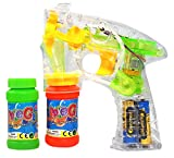 Haktoys® Bubble Gun Transparent Shooter w/ LED Lights, 3 x AA Batteries, and Extra Bottle