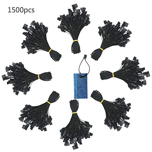 Hang Tag String,ZERHOK 1500pcs Disposable Black Price Nylon Hang Tag String with Snap Lock Pin for Clothes Brand Tag Price (Black)