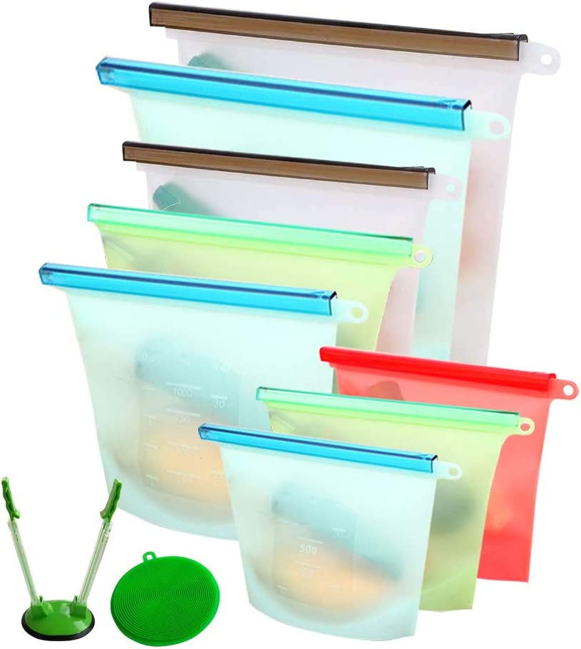 Reusable Silicone Food Storage Bags, Freezer Airtight Seal Food Preservation Bags, Fruit Storage Bags, For Sandwiches, Snacks, Meat, Vegetable,8 Pieces 2 Large 50 oz, 3 Medium 30 oz And 3 Small 20 oz