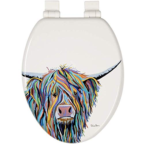 Croydex WL800922AZH Angus McCoo Art By Steven Brown Stick Tight No More Movement Toilet Seat with sticky grip pad technology Elongated, Soft Close and Quick Release