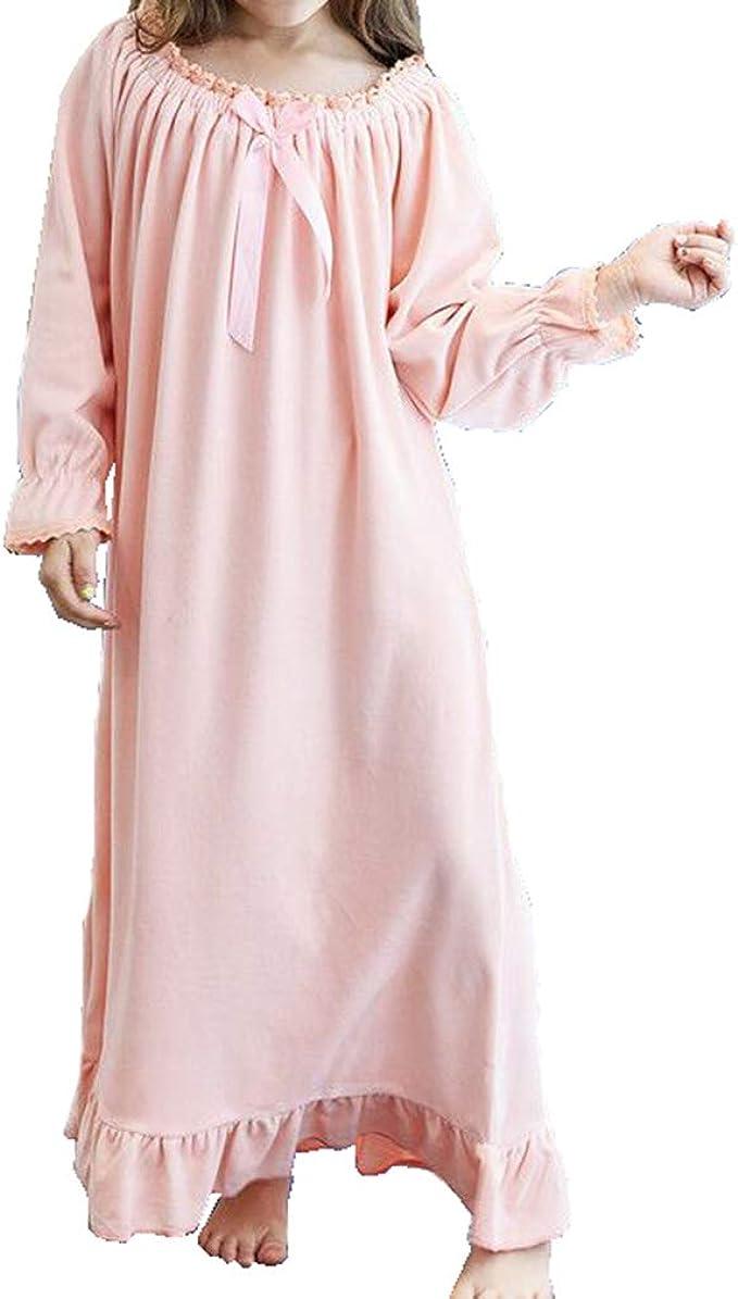 Gagacity Camicia da Notte da Bambina Donna Vestito in Flanella Sleepwear Lungo
