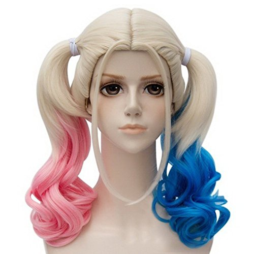 (8047 - Elsa, Harley Quinn, Blonde Ombre Hair Full Wig Fashion Style Black Root Long Curly Wigs (Harley)