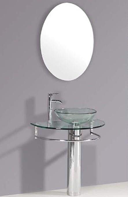 30 Bathroom Pedestal Vanity Glass Vessel Sink Set Amazon Com