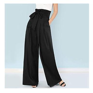 9195f2ad85b Self Belted Box Pleated Palazzo Pants Women Elegant Loose Long High Waist  Wide Leg Pants at Amazon Women s Clothing store