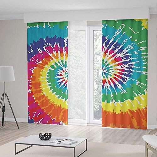 Blackout Curtains,Tie Dye Decor,Digital Spiral Vortex Vibrant Rainbow Colored Sixties Ikat Psychedelic Pattern,2 Panel Set,157