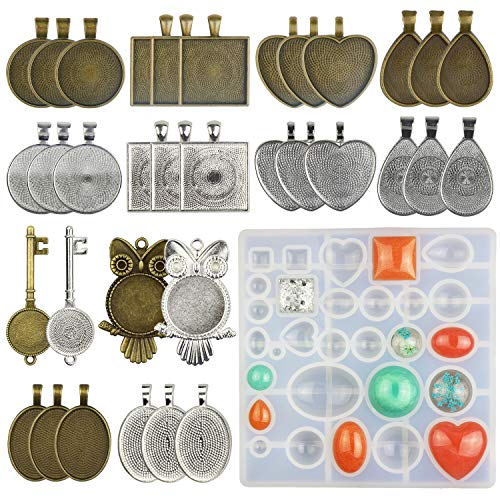 LET'S RESIN 34 Pcs Pendant Trays 7 Styles-Round & Square & Heart & Teardrop & Oval & Key & Owl and 1 Set Silicone Resin Jewelry Casting Molds for Pendant Crafting DIY Jewelry Gift Making