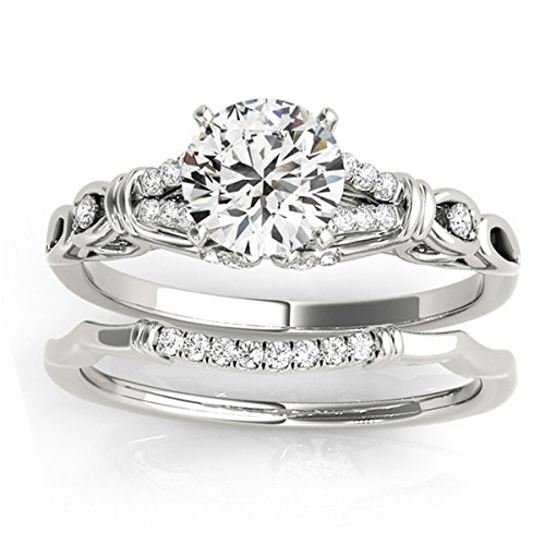 Pave Diamond Antique Style Bridal Set Setting in 18k White Gold from Allurez -