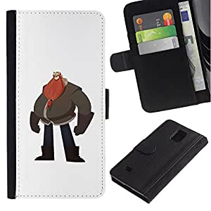 iBinBang / Flip Funda de Cuero Case Cover - Big Man Belly Red Beard Drawing Art - Samsung Galaxy Note 4 SM-N910