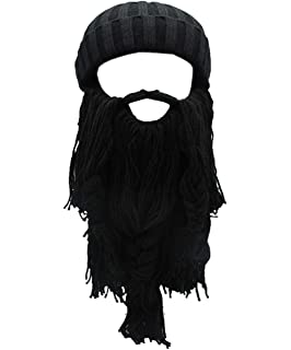 087f781df4c Flyou Adult Viking Beard Beanie Horn Hat Winter Warm Mask Hat Knitted Wool  Funny Skull Cap