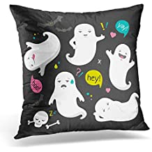 Golee Throw Pillow Cover Collection White Bat Cute Ghost Character Funny Spooky Dude on Halloween Bone Cartoon Comic Creative Decorative Pillow Case Home Decor Square 18x18 Inches Pillowcase