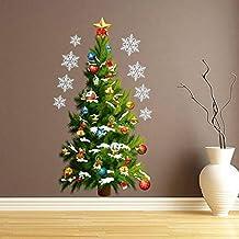 "BIBITIME Merry Christmas Wall Sticker Xmas Star Tree Vinyl Decor Snowflake Stickers Removable Window Decals, 17.72*32.28"""