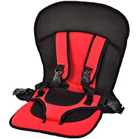Inditradition Multi-Functional Baby Car Seat Cushion with Safety Belt | for Infants & Kids, 0.6 to 4 Years (Red)