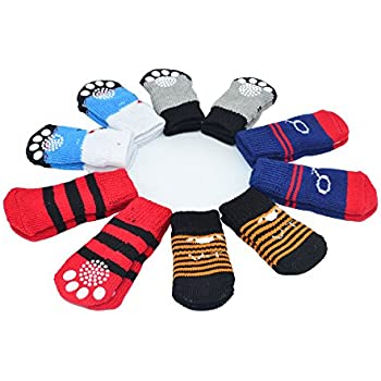 Traction Control Cotton Socks Indoor Dog Nonskid Knit Socks 5 Pairs Random Color, Medium Size
