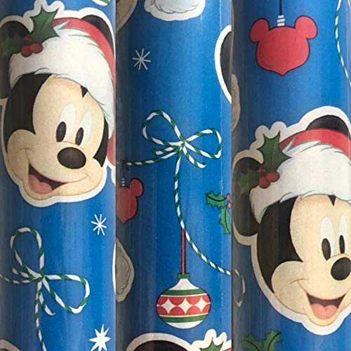 1 Roll Blue Disney Christmas Gift Wrapping Paper 70 sq ft (Wrapping Mouse Paper Mickey Christmas)