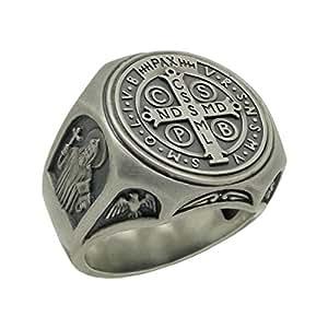 Anillo de plata de ley 925 símbolo de San Benito, anillo