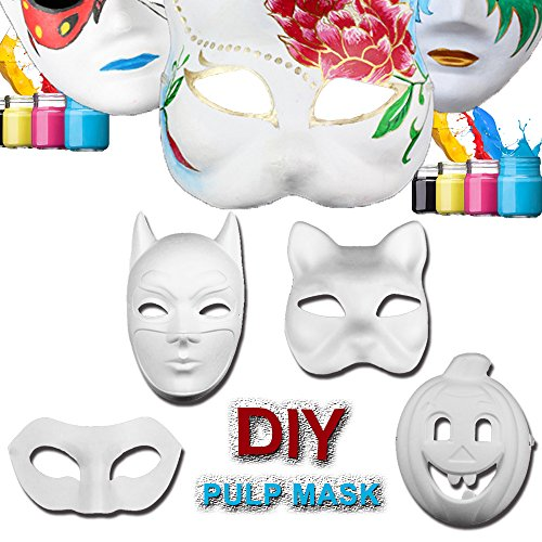 [Halloween Costume Masks DIY White Mask Painting 4 PACKS for Halloween Party] (Cat Costume For Halloween Diy)