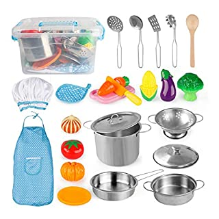 D-FantiX Pretend Play Toy Kitchen Accessories Kids Play Cooking Set Pots and Pans, Utensils, Apron and Chef Hat, Cutting Vegetables Kitchen Playset for Toddlers, Boys and Girls 3 4 5 + Years Old