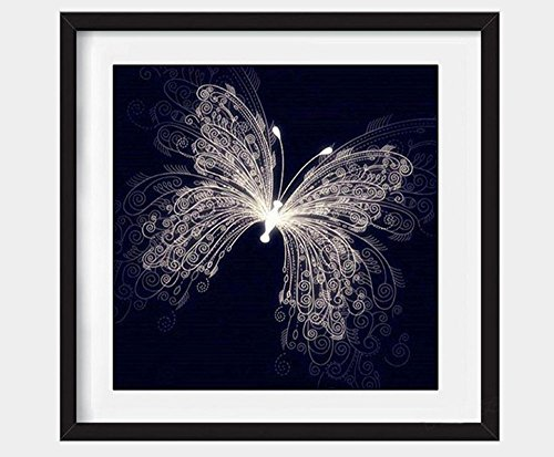 leoyoubei DIY 5D Diamond Painting by Number Kit, Stamped Kits Full Diamond Butterfly Embroidery Rhinestone Mosaic Picture Cross Stitch Arts Craft Supply for Home Wall Decor (Black)