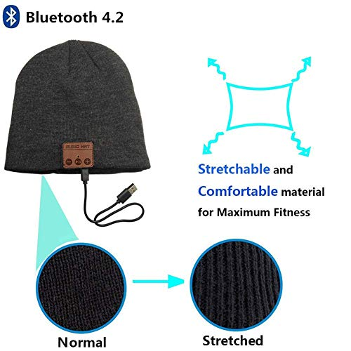 Happy-top Beanie Wireless Music Headphones Hat Compatible for iPhone Samsung Android (Black)