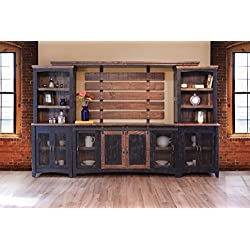 "Crafters and Weavers Greenview Black 122"" TV Stand Wall Unit"