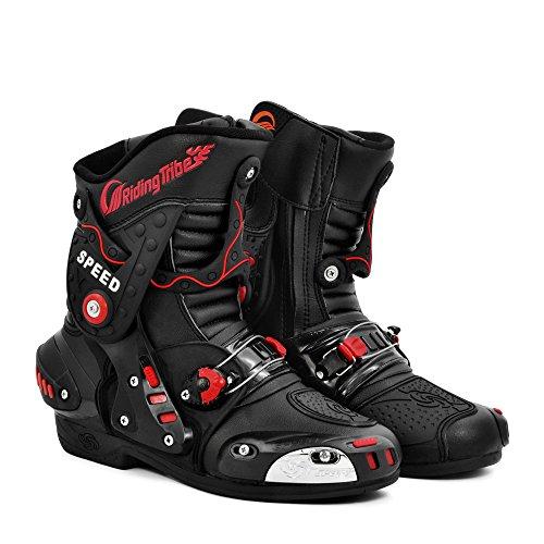 Case Black Toughskin - Pro-Biker Leather Motorcycle Racing Boots(Black, 9.5)