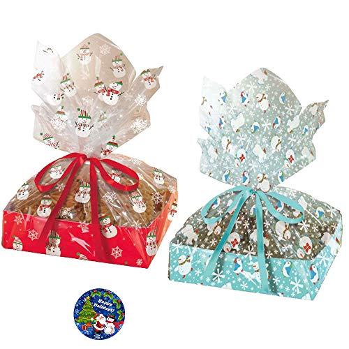 4 Pack Christmas Treat Tray and Goodie Cellophane Bag Party Pack With Large Red and Blue Snowman Bags Perfect For Holiday Baking!