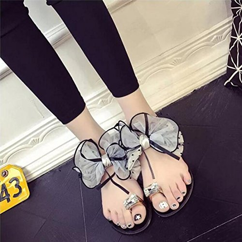 KHSKX-Zapatillas De Moda _ Coreano De Moda De Zapatillas Mujer Verano Nuevo Código Piso Piso Con Slip Flor Forty