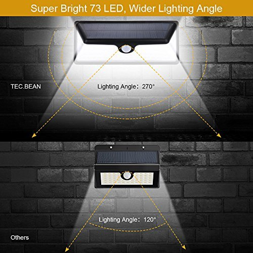 TEC.BEAN Super Bright 73 LED Waterproof Solar Lights Solar Power,Outdoor Motion Sensor(3 Modes),Wall Light, Wide Angle with 10 LEDs on Both Side(1 Pack)