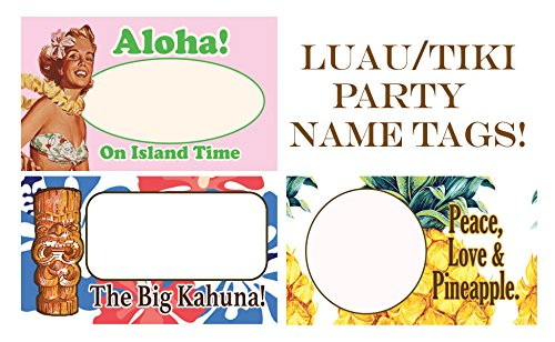 Luau/Tiki Party Name Tags, Name Badge Writable Stickers. Island Style Tags That Ignite Conversation. 3 Different Styles in Each Pack! (90 - Island Name