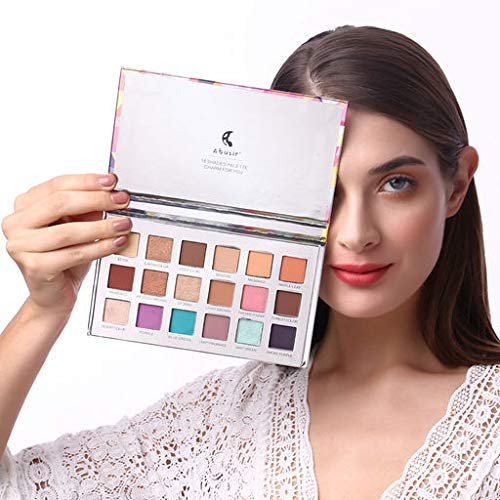 Cindero Sexy 18 Colors Eye Shadow Diamond Makeup Pearl Metallic Eyeshadow Palette Cosmetic Available Waterproof Sweat-Proof Long Lasting Pigmented
