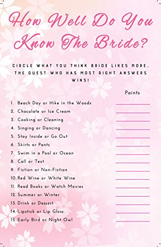 photo regarding Free Printable Bridal Shower Games How Well Do You Know the Bride named 3 Pack 3 Bridal Shower Video games - 50 Sheets each individual