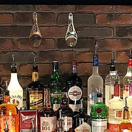 Abridor Cerveza Pared Vino Abridor para Casa Bar 2pcs (Plata y Cobre), con Tornillos de Instalación