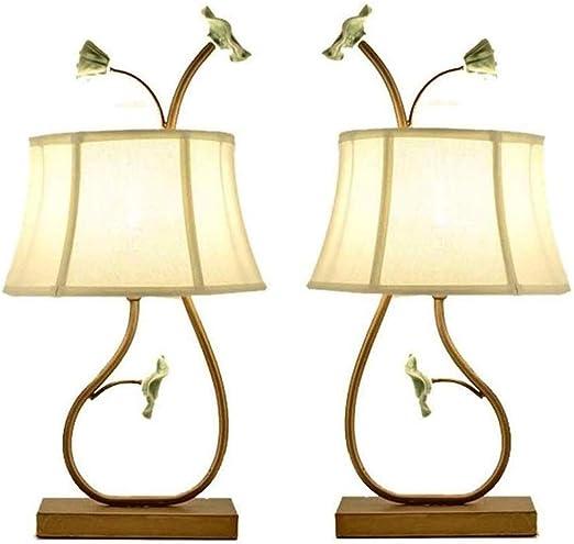 HDZWW L204074 lámpara de Mesa de Metal (Juego de 2), Dormitorio ...