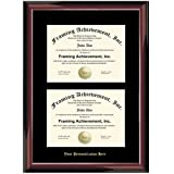 Gold Embossed Personalized Double Diploma Frame - Premium Glossy Traditional Mahogany Wood - Single Black Mat - Dual Certificate Frame