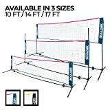 Boulder Portable Badminton Net Set - 17 Ft Size for Tennis, Soccer Tennis, Pickleball, Kids Volleyball - Easy Setup Nylon Sports Net with Poles - for Indoor or Outdoor Court, Beach, Driveway