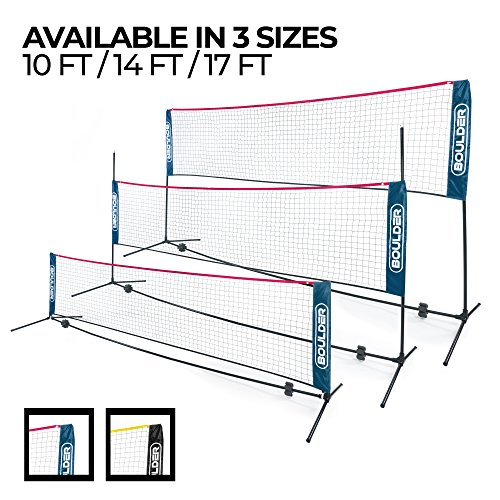Boulder Portable Badminton Net Set - 10-Ft Net for Tennis, Soccer Tennis, Pickleball, Kids Volleyball - Easy Setup Nylon Sports Net with Poles - for Indoor or Outdoor Court, Beach, Driveway