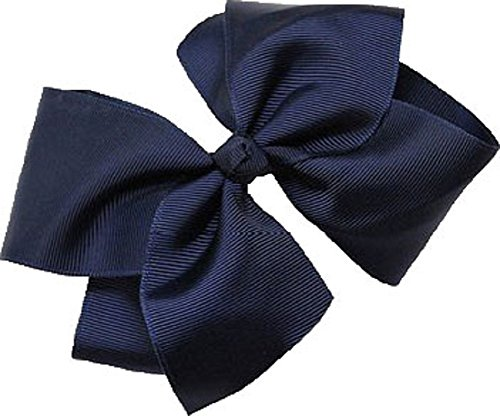 Beautiful Handmade Variety of Bright Colors Grosgrain Ribbon Bows with Alligator Clip (Navy)