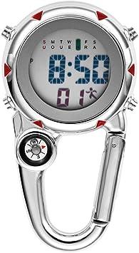 VOSAREA - Reloj digital deportivo con mosquetón, para pesca, senderismo, escalada, mini reloj de bolsillo con brújula, camping, actividades al aire ...