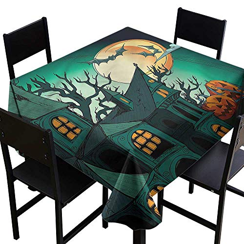 Anshesix Stain-Resistant Tablecloth Halloween Halloween Haunted Castle Easy to Clean W36 xL36 Washable Polyester - Great for Buffet Table, Parties, Holiday Dinner, Wedding & -