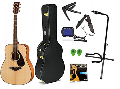 Yamaha FG800 Solid Top Acoustic Guitar w/ Knox Hardshell Case, Stand, Strap, Tuner, Picks and Capo