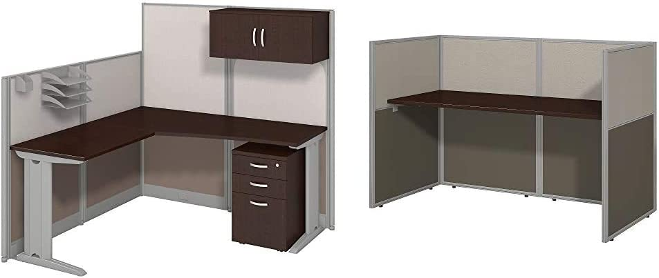 Bush Business Furniture Office in an Hour 65W x 65D LWorkstation with Storage and Accessory Kit in Mocha Cherry, Large (WC36894-03STGK) & Easy Office 60W Straight Desk Closed Office in Mocha Cherry