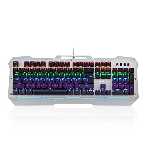 Price comparison product image AULA Reaper Mechanical Gaming Keyboard with Blue Switches, Rainbow LED backlight