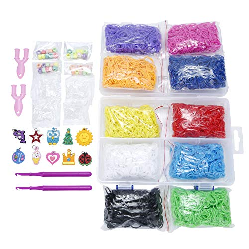 er Bands Refill Bundle - Includes: 6000 Rubber Bands, 10 Colors, 4 Packs S-Clips, 40 Colorful Beads, 2 Small Hooks,10 Charms, 2 Y-Shape Mini Looms ()