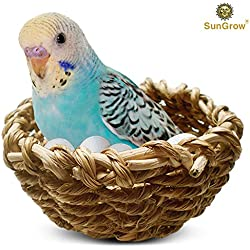 Natural Seagrass Cup Shaped Bird Nest, Lets Your Bird Feel Cozy and Right at Home, Easily Attachable to cage, 2 Metal Hooks Included, Perfect for Feeding or breeding